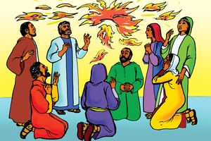 Rùp 2: Yàc Vơngãq Sơđah pơbôh tơviãq yơu apôi [Picture 2. The Holy Spirit Comes with Fire]