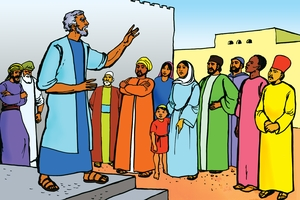 Petro Aanza Kuhubiri (Picture 3. Peter Preaches to the People)