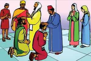 Picture 15: The Church Prays for Paul and Barnabas; - Acts 13: 1-3