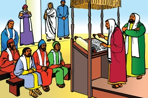 Ujumbe Kwa Vantu Venevodo Kuvawira Viingi Masare Yaboha (絵 16. Paul Preaches about Jesus)