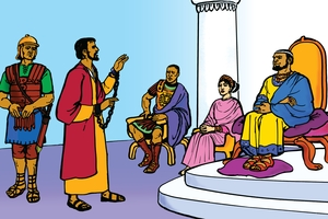 Pauli Ikulumbilila Ku Bandu Abasubiligwa [Picture 22. Paul Preaches to Kings]
