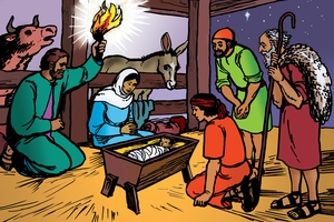 絵 11. The Shepherds Visit Baby Jesus