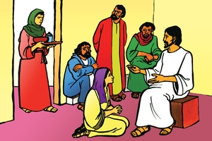Jesu aa potela ba Maleta no Maliya (絵 68. Jesus at the Home of Mary and Martha)