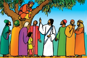 Jesu no zakiya (絵 87. Jesus and Zacchaeus)