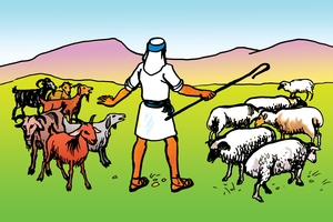 Inguli jo tupuli no ngu (絵 96. Parable of the Sheep and the Goats)