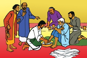 Jesu abana yowisa amakondo no aiyetwi aye (絵 99. Jesus Washes the Disciples' Feet)