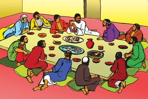 Okwiyeta ba mulalelo no mamaneneno (絵 100. Teaching at the Last Supper)