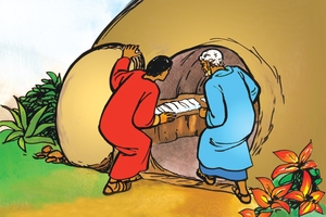 Pitolosi ni Joani Ali ku Liyumbelo (絵 111. Peter and John at the Empty Tomb)