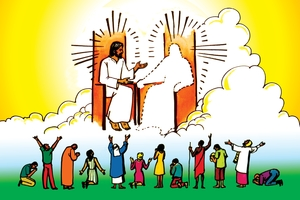 Jesu Yoli Kulikaa lya Nyambe naku Silyo ku Wilu (絵 119. Jesus at God's Right Hand in Heaven)