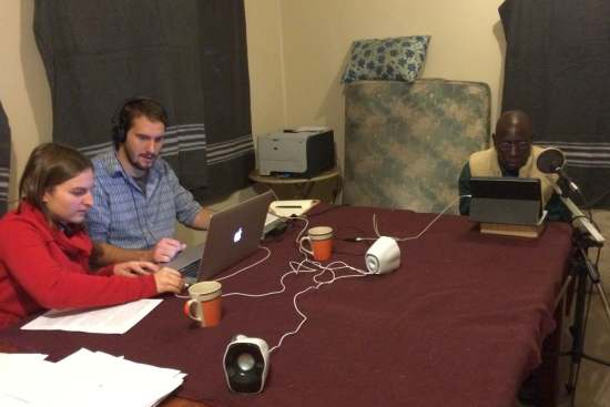 <p>Megan and Michael recording The Living Christ in Makoma with Joffrey