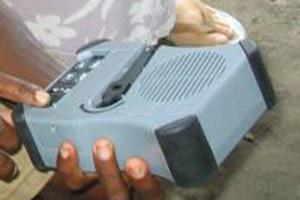 "De handopwindbare MP3-speler, genaamd ""Saber"""