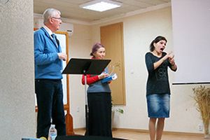 <p>Ministering in sign language to the deaf community