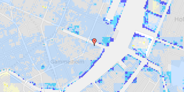 Ekstrem regn på Nyhavn 40, st.