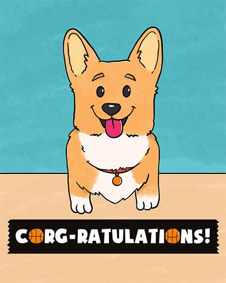 congratulations card corg-gratulations