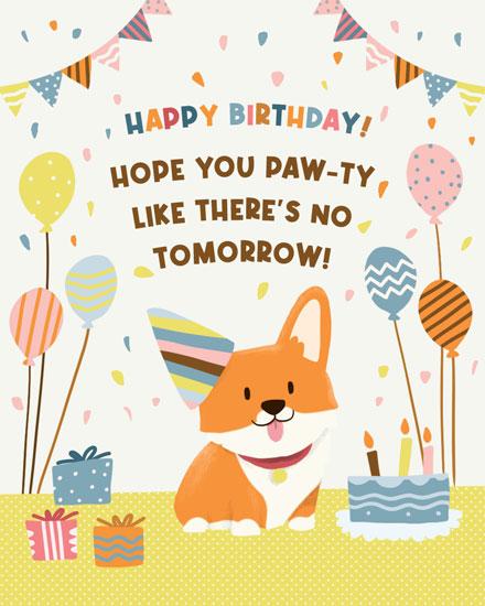 birthday card pawty like theres no tomorrow