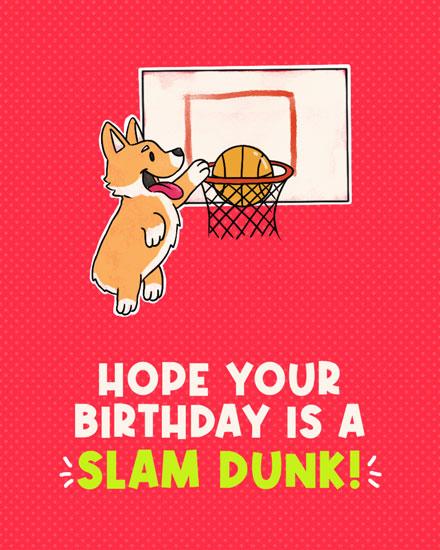 birthday card hope your birthday is a slam dunk