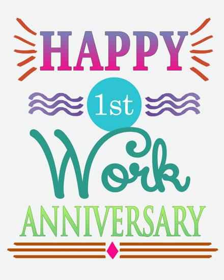 anniversary card 1st work anniversary
