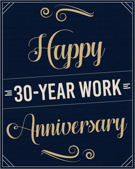 anniversary card 30 years navy