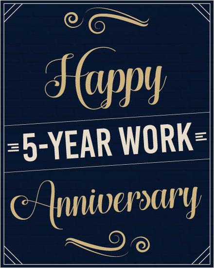 anniversary card 5 year work anniversary