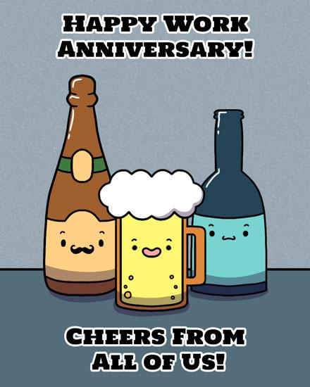 anniversary card beers cheers