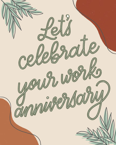 anniversary card lets celebrate your work anniversary leaves