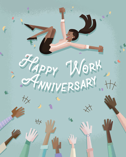 anniversary card coworkers celebrating woman