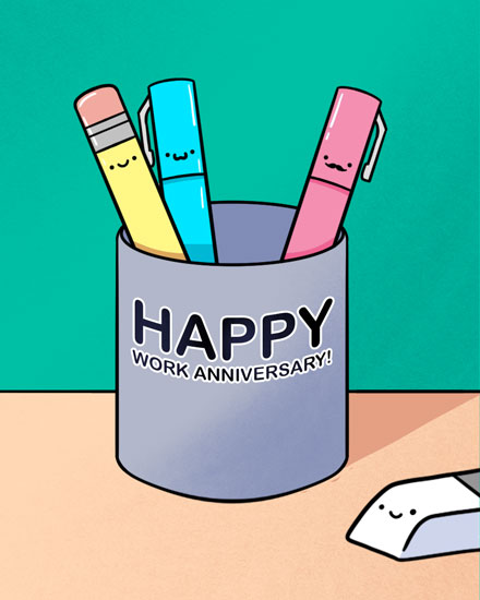 anniversary card cup of writing utensils