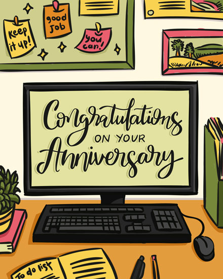 anniversary card desktop bulletin board