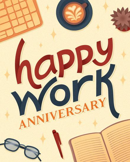 anniversary card desktop clutter