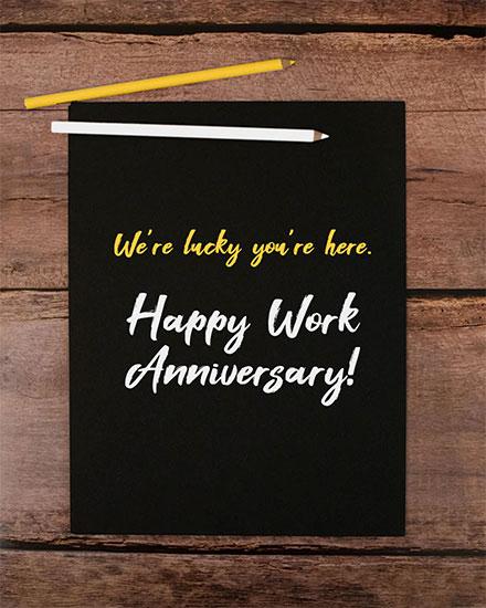 anniversary card were happy youre here happy work anniversary