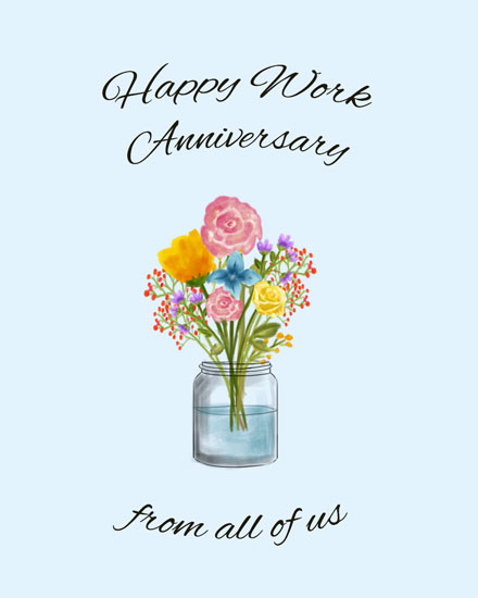 anniversary card flowers in vase