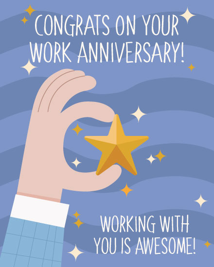 anniversary card gold star