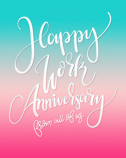 anniversary card gradient teal pink