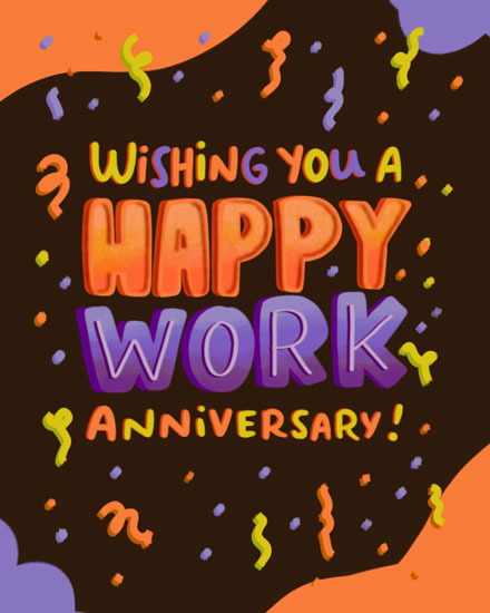 anniversary card happy work anniversary orange and purple letters