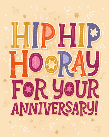 anniversary card hip hip hooray
