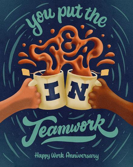 anniversary card you put the tea in teamwork