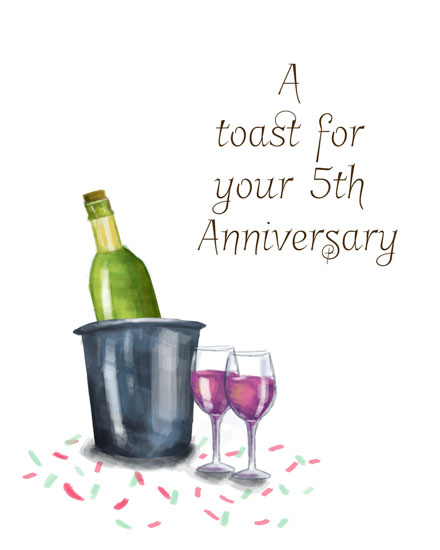 anniversary card toast for your 5th anniversary