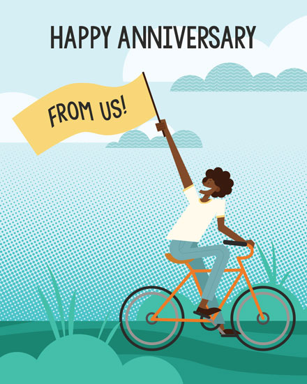 anniversary card woman on bicycle banner