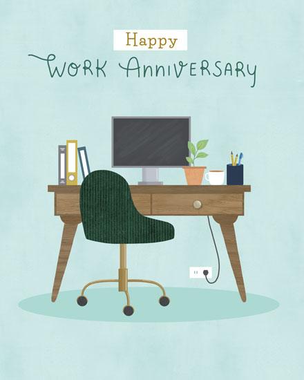 anniversary card happy work anniversary office desk