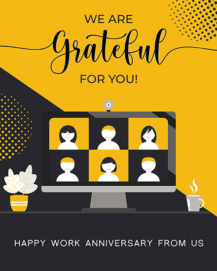 anniversary card we are grateful for you zoom call on laptop