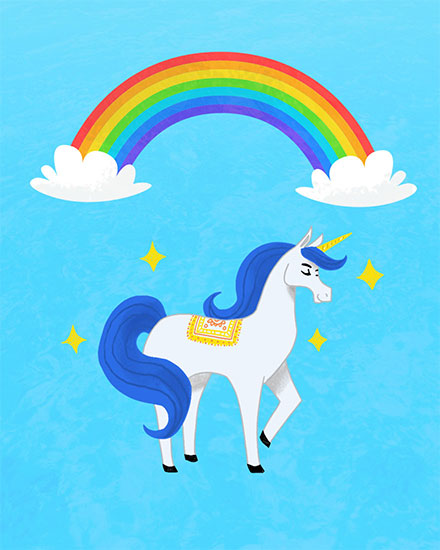 any occasion card unicorn and rainbow