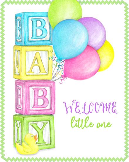 baby card baby blocks balloons