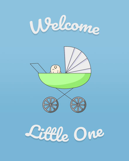 congratulations card baby boy carriage