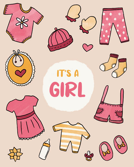 baby card its a girl baby clothes