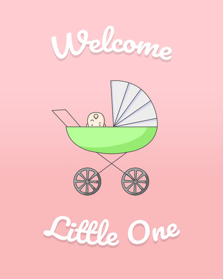congratulations card baby girl carriage