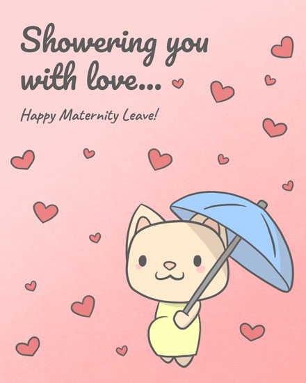 baby card cat holding umbrella