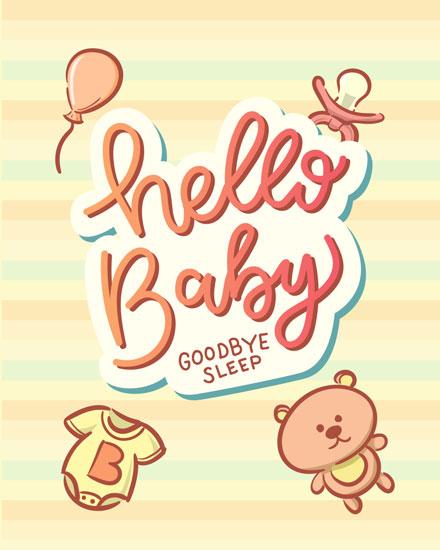baby card hello baby goodbye sleep