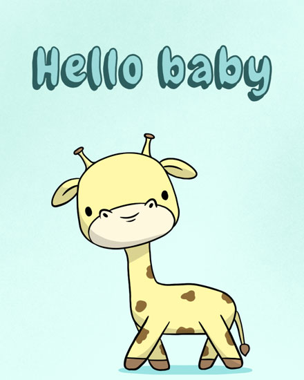 baby card hello baby giraffe