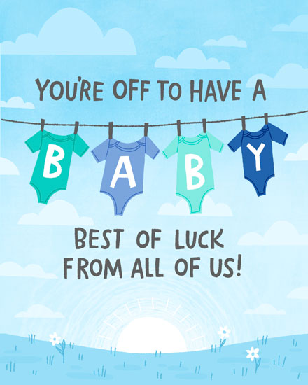 baby card youre off to have a baby blue onesies on clothesline