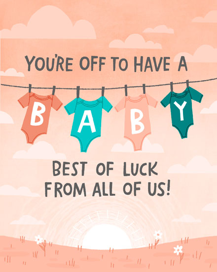 baby card youre off to have a baby pink onesies on clothesline